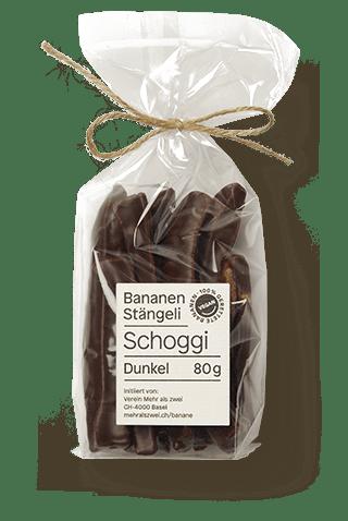 Bananen-Stängeli mit dunkler Schokolade