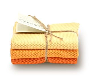 Wischtücher-Set-3-teilig «Gebranntes Orange» von Solwang