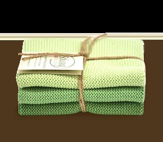Wischtücher-Set-3-teilig «Staubiges Grün» von Solwang